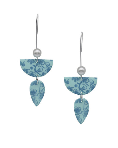 Floral Drop Earrings - Mint