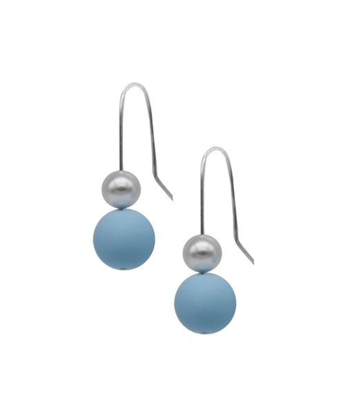 Pearl Drop Earrings - Sky Blue