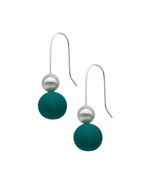 Pearl Drop Earrings - Emerald