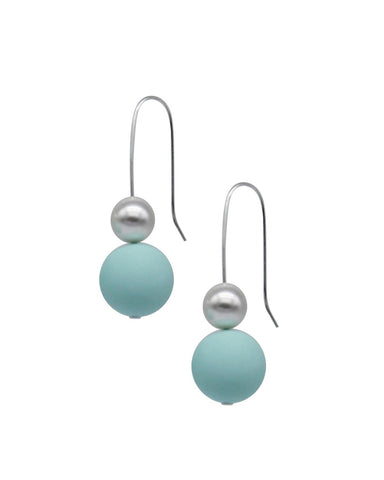 Pearl Drop Earrings - Mint