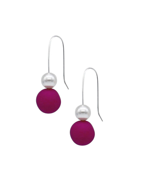 Pearl Drop Earrings - Raspberry