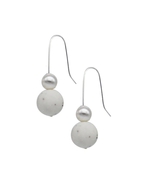 Pearl Drop Earrings - Marble