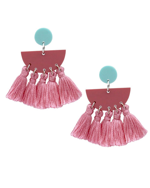 Summer Tassel Earrings - Pink