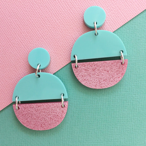 Luna Earrings - Mint & Pink Glitter