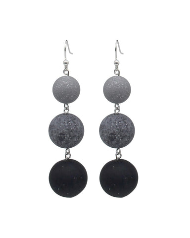 Ombre Drop Earrings - Silver Graphite & Midnight