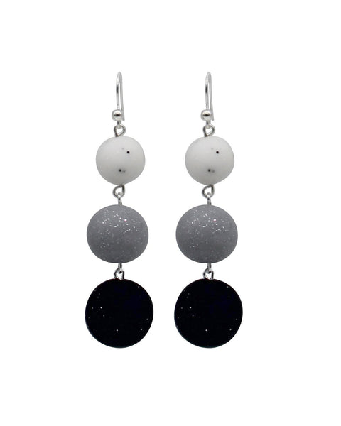 Ombre Drop Earrings - Marble, Silver & Midnight