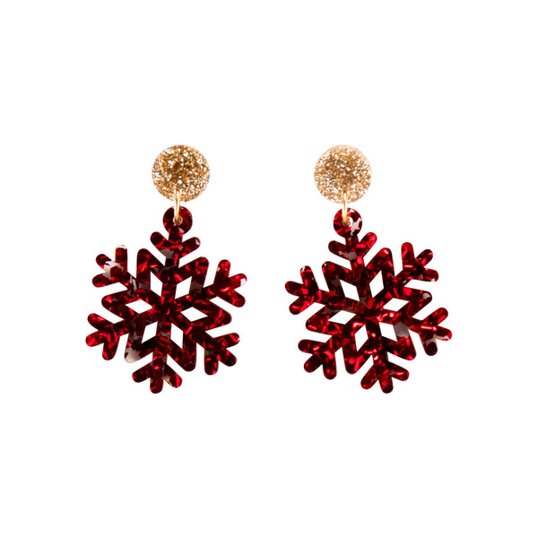 Snowflake Earring - Gold & Red