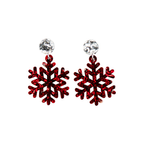 Snowflake Earring - Silver & Red