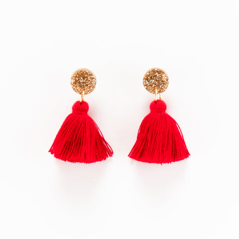 Holly Earrings - Red