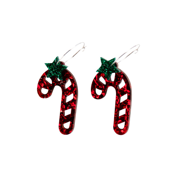 Candy Cane Earrings - Red
