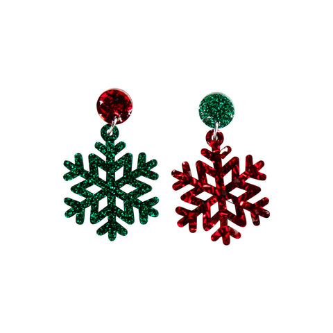 Snowflake Earring - Red & Green