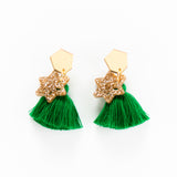 Xmas Pine Earrings - Green & Gold