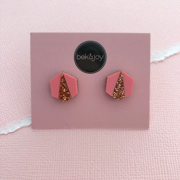 Deco Hex Earrings - Pink & Rose