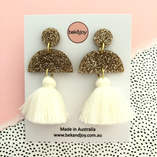 Meave Earrings - Gold Glitter