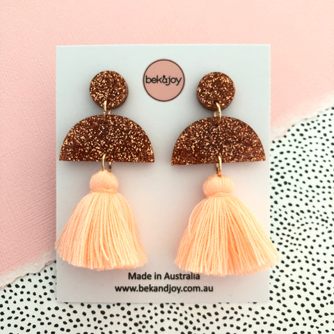 Meave Earrings - Rose Gold Glitter