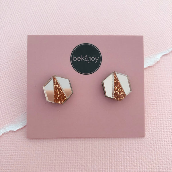 Deco Hex Earrings - Rose