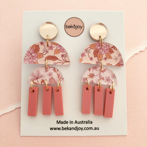 Spring Rose Earrings 3.0 - Coral