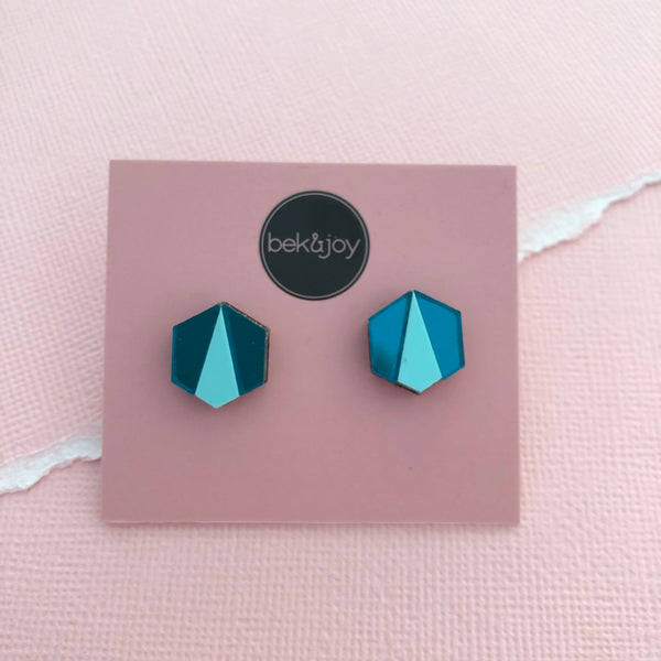 Deco Hex Earrings - Mint & Teal