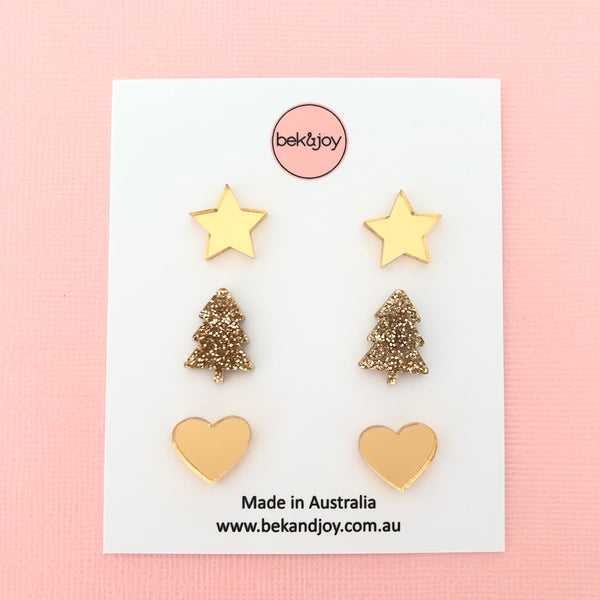 Christmas Earrings Multi Pack - Gold