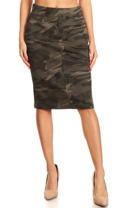 Camo Stretch Waist Jean Skirt
