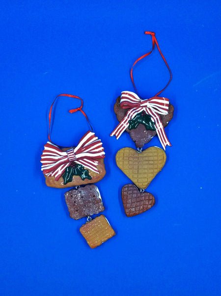 Holiday Cookie Drop Ornament in Heart and Square - HartFelt Keepsakes