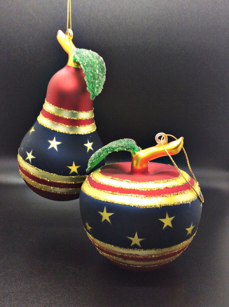 Americana Fruit Ornaments: Apple and Pear - HartFelt Keepsakes