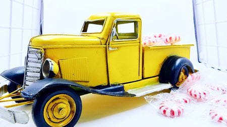 Adorable Little Yellow Metal Truck With Peppermint Starlights - HartFelt Keepsakes
