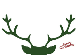 Card - Merry Christmas Deer Antlers (Green & Red)