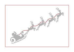 Card - Santa's Reindeer Note Card (Silver & Red)