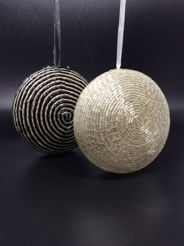 Beaded Disco Balls in Silver and Black (Set of 2) - HartFelt Keepsakes