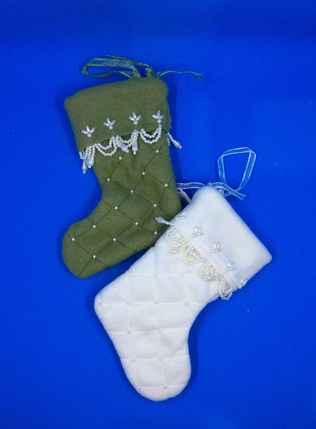 Stocking, Mini Beaded White or Green - HartFelt Keepsakes