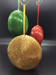 Beaded Disco Balls in Red, Green, and Gold - HartFelt Keepsakes