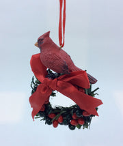 Wreath Ornament with Cardinal, Bow and Berries - HartFelt Keepsakes