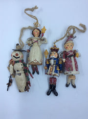 Vintage Wooden Ornaments: Snowman, Nutcracker, Angel, and Snow Maiden - HartFelt Keepsakes