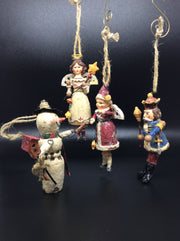 Vintage Ornaments: Snowman, Nutcracker, Angel, and Snow Maiden - HartFelt Keepsakes