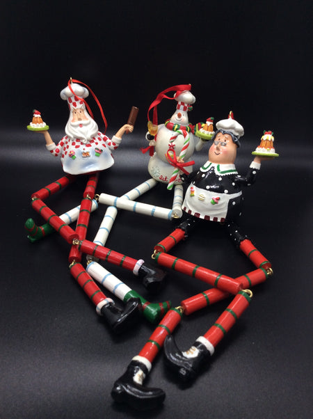 Santa Claus, Mrs. Claus and Snowman Cake Express Dangle Legs