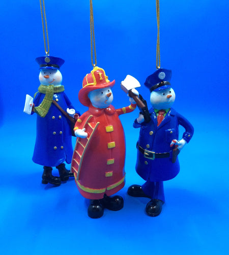 Call Into Action Snowman Ornaments: Policeman, Fireman, or Mailman - HartFelt Keepsakes