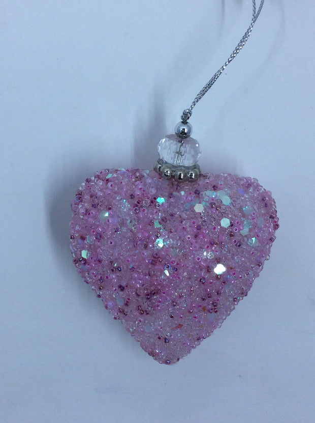 Pink Heart, Crystal and Beads - HartFelt Keepsakes