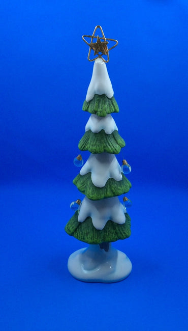Snow Covered Christmas Tree with Gold Shining Star - HartFelt Keepsakes