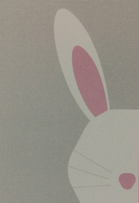 Card - Easter Bunny (Half-Face) Pink, White and Grey - HartFelt Keepsakes
