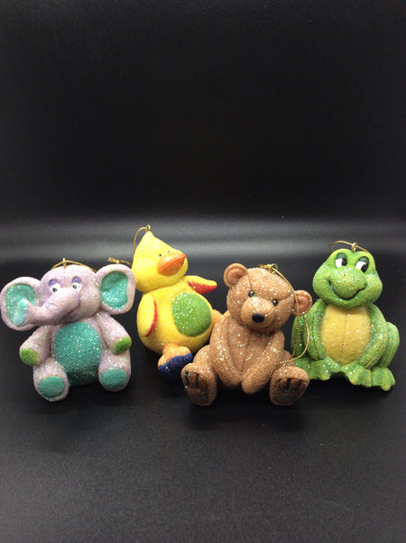 Ceramic Glitter Animals: Duck, Bear, Elephant, Frog