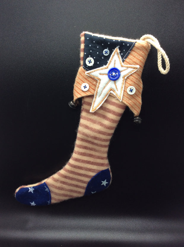 Americana Stars & Stripes or Stars & Plaid Stocking - HartFelt Keepsakes