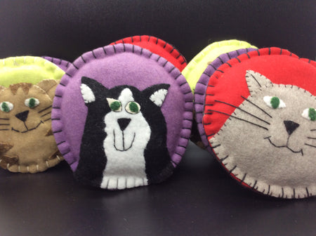 Felt Cats of many Colors Ornament Set or Bean Bag Toss - HartFelt Keepsakes