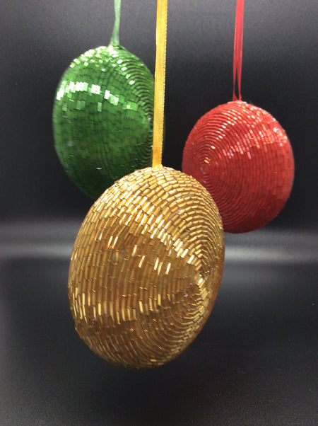 Beaded Disco Balls in Red, Green, and Gold (Set of 3) - HartFelt Keepsakes