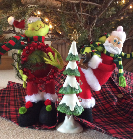 15 Inch Christmas Stuffed Dolls (Santa, Frog) - HartFelt Keepsakes