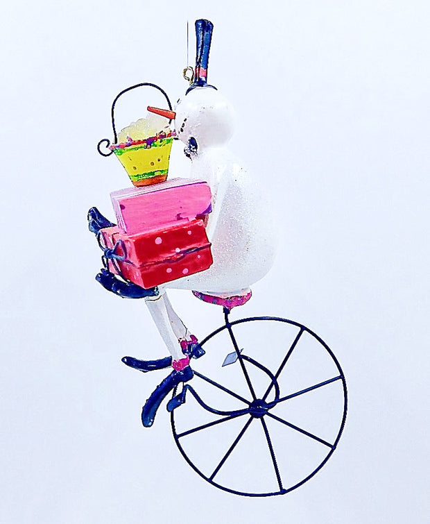Snowman On Unicycle With Green Hat and Blue Scarf - HartFelt Keepsakes