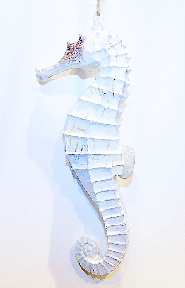 Seahorse Ornament: White, Brown, Sand - HartFelt Keepsakes