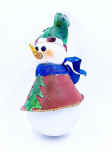 Round Ball Snowman With Green Hat & Blue Scarf - HartFelt Keepsakes