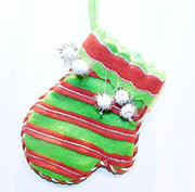 Stocking, Mini-Mittens: Green W/Red Stripes or Green W/White Dots - HartFelt Keepsakes
