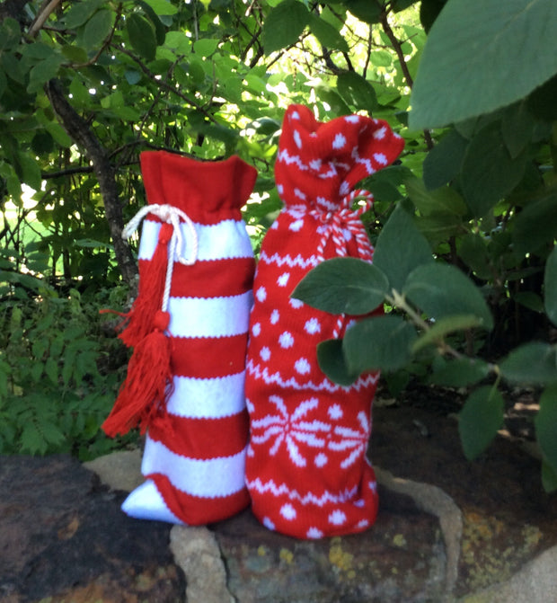 Candy Cane Striped Wine Bottle Bag (5 Pack) - HartFelt Keepsakes